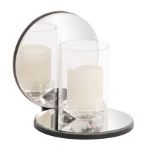 Howard Elliott Single Clear Round Mirrored Hurricane Candleholder
