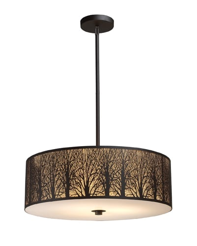 "Elk Lighting 31075/5 Aged Bronze Woodland Sunrise 8"" Height Country / Rustic 5 Light Pendant with a Drum Shade from the Woodland Sunrise Collection"