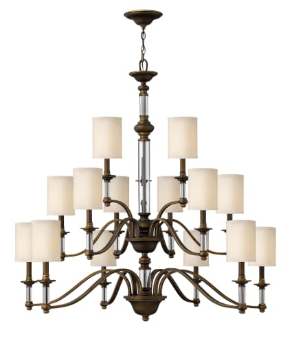 Hinkley Lighting 4799EZ English Bronze with Brass Highlights Sussex Rustic / Country Fifteen Light Up Lighting Three Tier Chandelier from the Sussex Collection