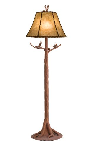 Kalco 873SC Sycamore Ponderosa Rustic / Country Floor Lamp With 3-Way Switch and Buckskin Shade Included From the Ponderosa Collection