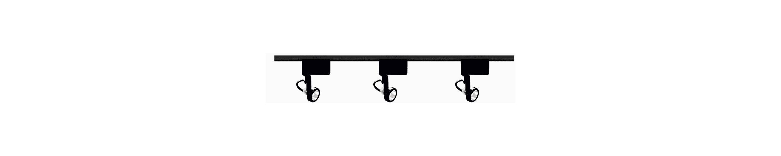 Nuvo Lighting TK315 Black Track Lighting Three Light MR16 Gimbal Ring Low Voltage Track Kit in Black Finish
