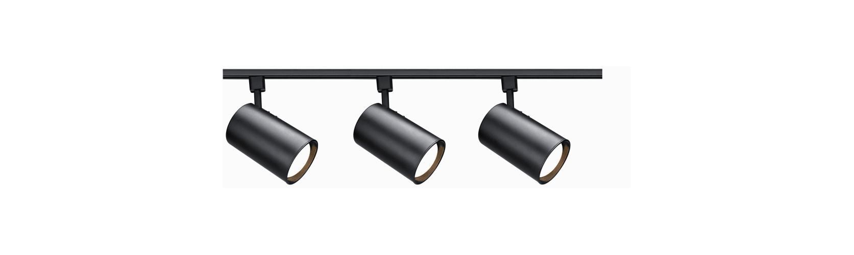 Nuvo Lighting TK319 Black Track Lighting Three Light R30 Straight Cylinder Track Kit in Black Finish