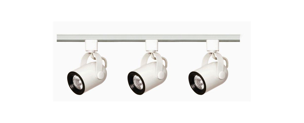 Nuvo Lighting TK348 White Track Lighting Three Light MR16 Round Back 120V Track Kit in White Finish