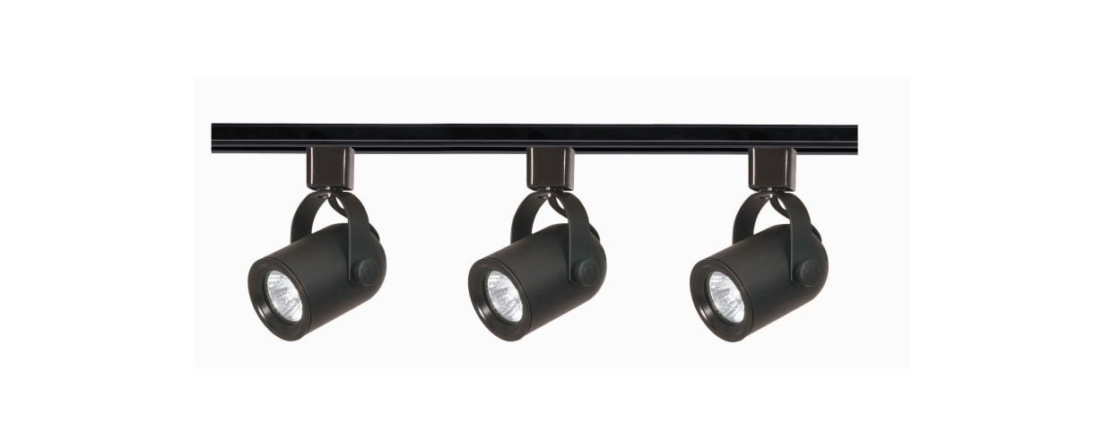 Nuvo Lighting TK349 Black Track Lighting Three Light MR16 Round Back 120V Track Kit in Black Finish