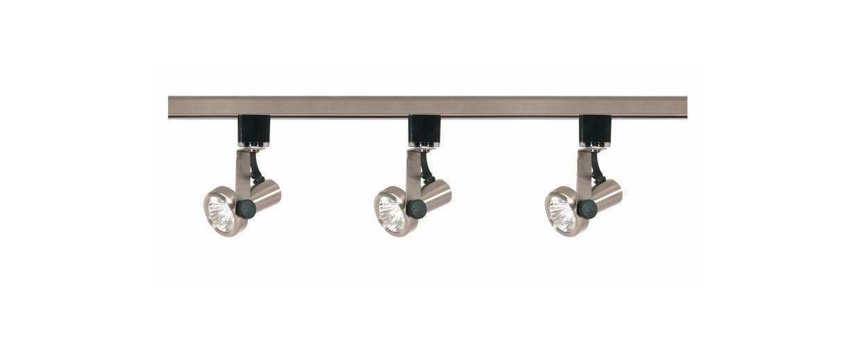 Nuvo Lighting TK353 Brushed Nickel Track Lighting Three Light MR16 Gimbal Ring 120V Track Kit in Brushed Nickel Finish