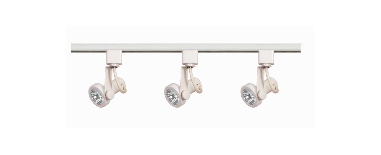 Nuvo Lighting TK355 White Track Lighting Three Light MR16 Gimbal Ring 120V Track Kit in White Finish