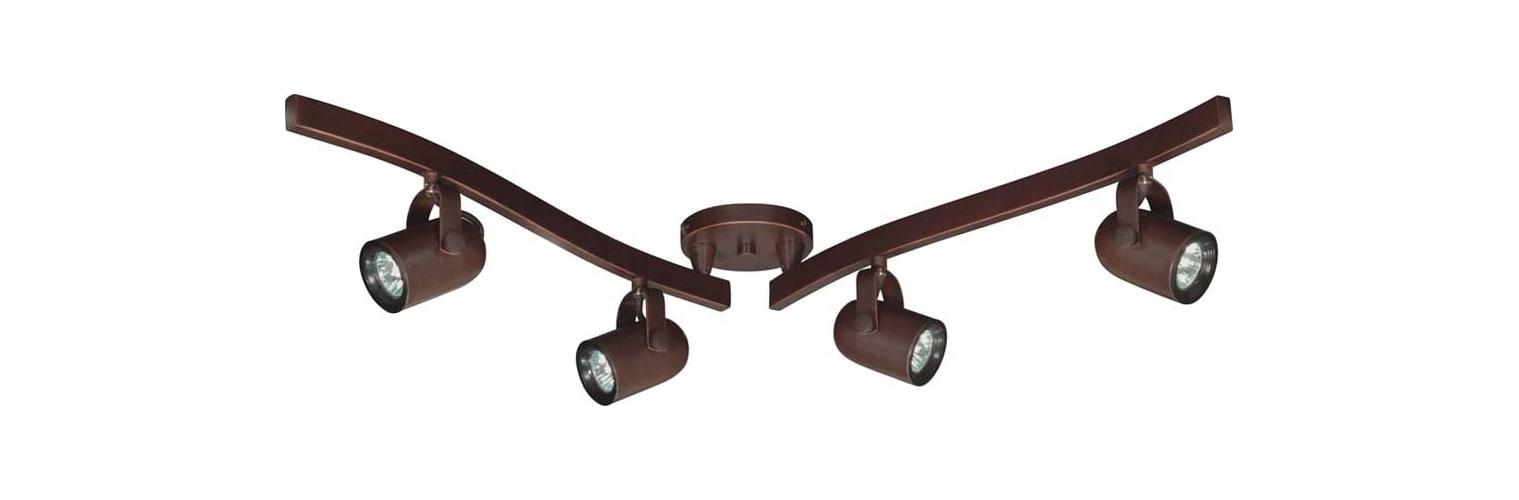 Nuvo Lighting TK383 Russet Bronze Track Lighting Four Light MR16 Halogen Swivel Track Kit in Russet Bronze Finish