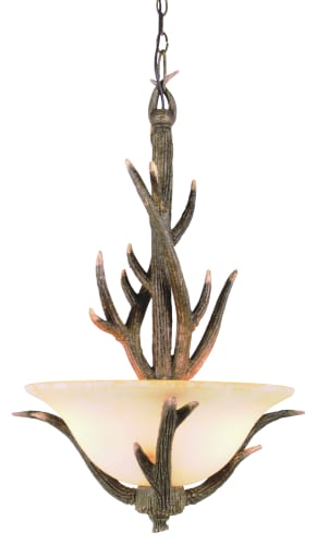 Trans Globe Lighting 7088 RDA Replica Deer Antler Country Style and Antlers Rustic / Country Three Light Up Lighting Chandelier from the Country Style and Antle