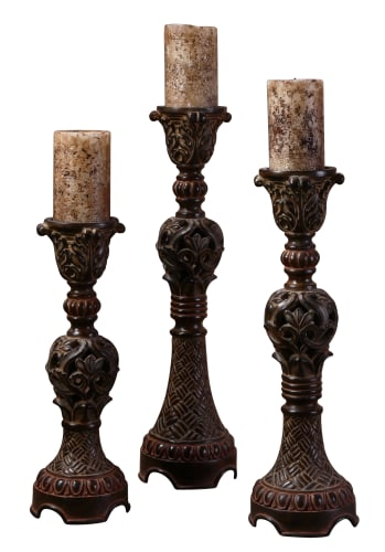 Uttermost 20312 Distressed Walnut Brown Billy Moon Rosina Set Of 3 Intricately Carved Candlesticks image