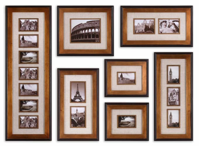 Uttermost 14459 Antique Gold Leaf Newark Photo Collage Set of 7 Wall Art