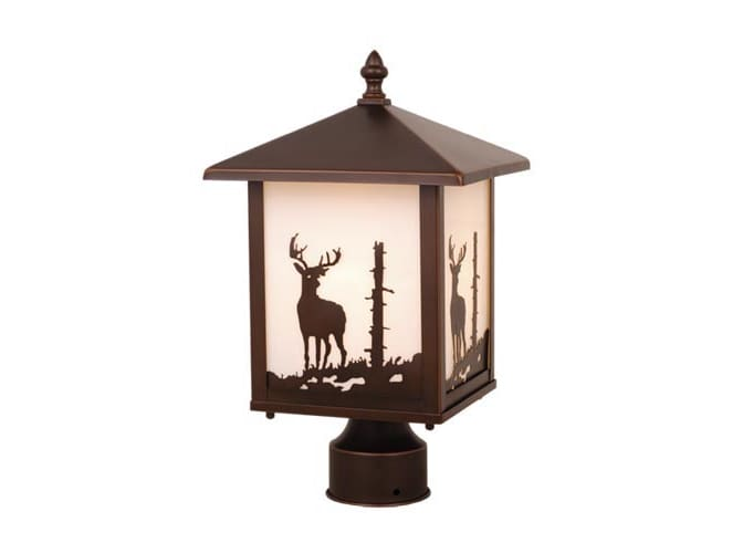 Vaxcel Lighting OP33585BBZ Burnished Bronze Bryce Rustic / Country Single Light Up Lighting Square Deer Outdoor Post Light from the Bryce Collection