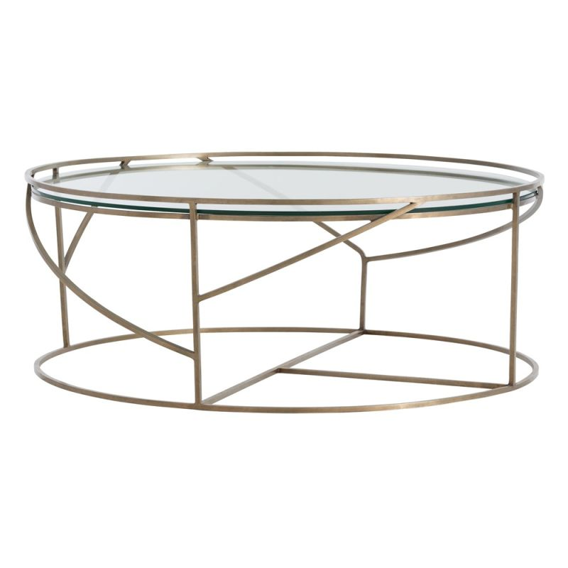 Arteriors 2001 Rourke 37 Inch Diameter Glass Top Iron Coffee Table