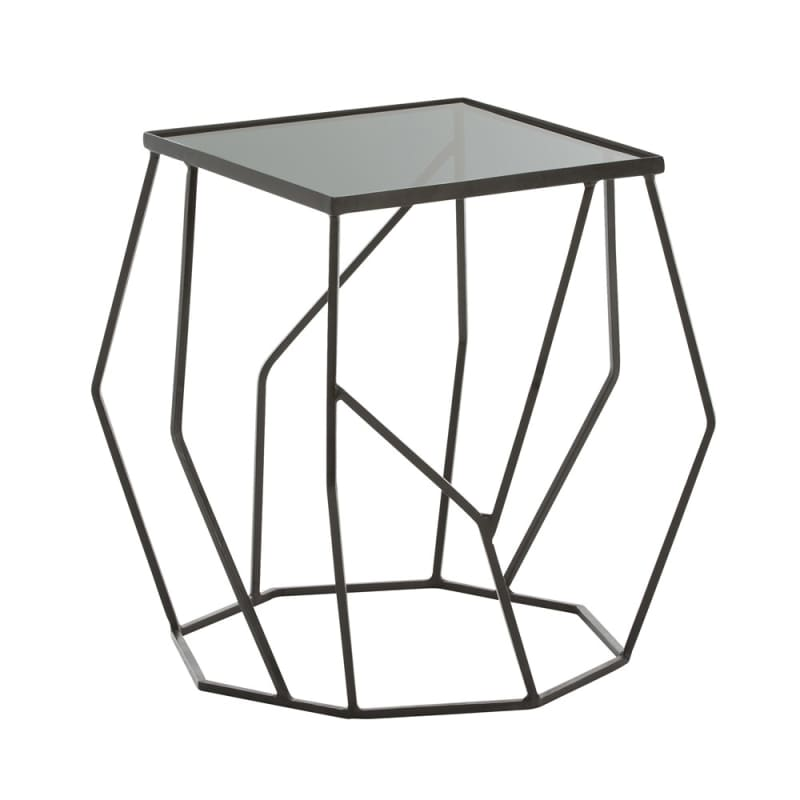 Arteriors 2009 Quirin 22.5 Inch Wide Glass Top Iron End Table Bronze