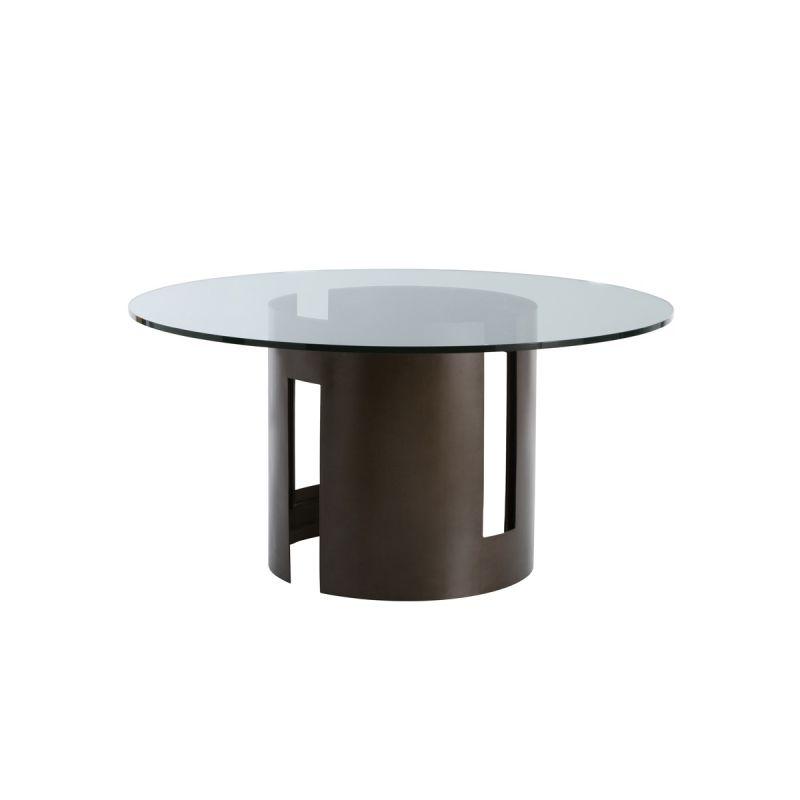 "Arteriors 2010-60 Thatcher 60"" Diameter Glass Top Dining Table Natural"