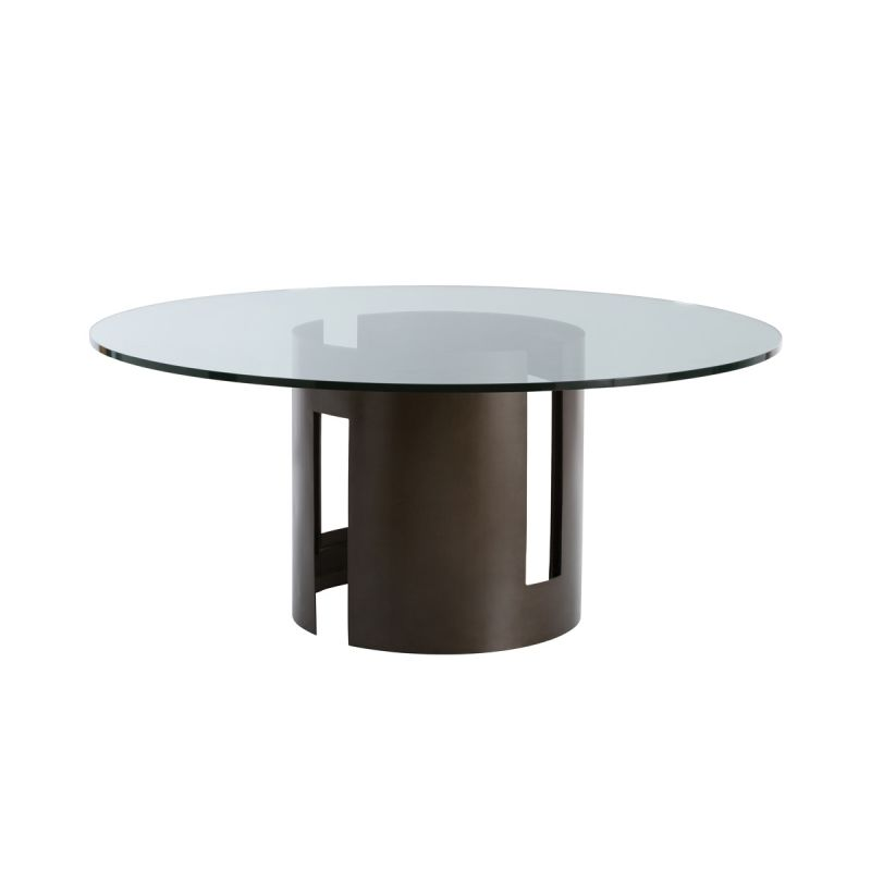 "Arteriors 2010-66 Thatcher 66"" Diameter Glass Top Dining Table Natural"
