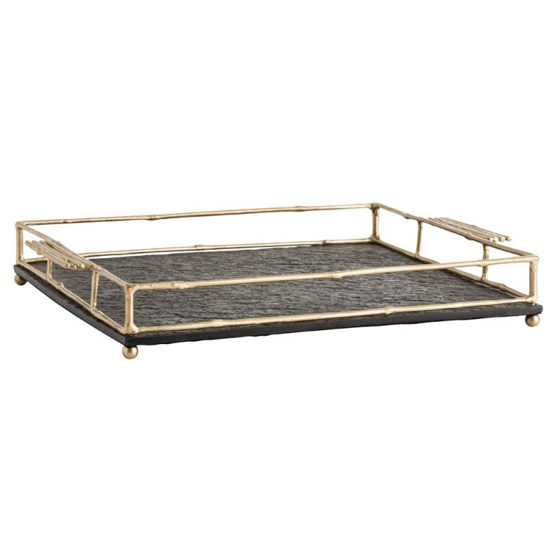 Arteriors 2020 Ritter 16.5 Inch Wide Tray Matte Brass Home Decor