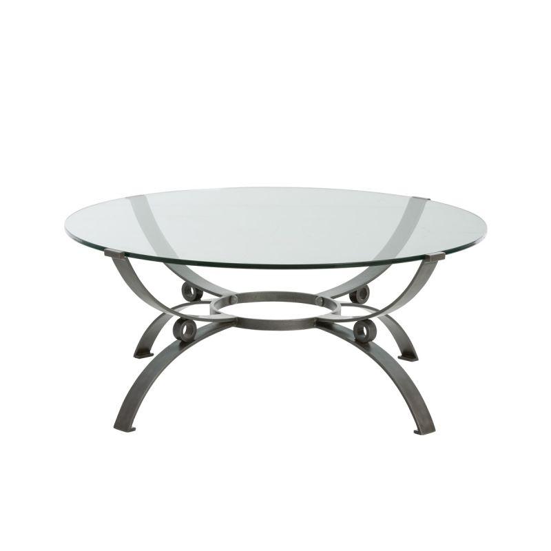 "Arteriors 2049 Sheldon 38"" Diameter Glass Top Coffee Table Natural"