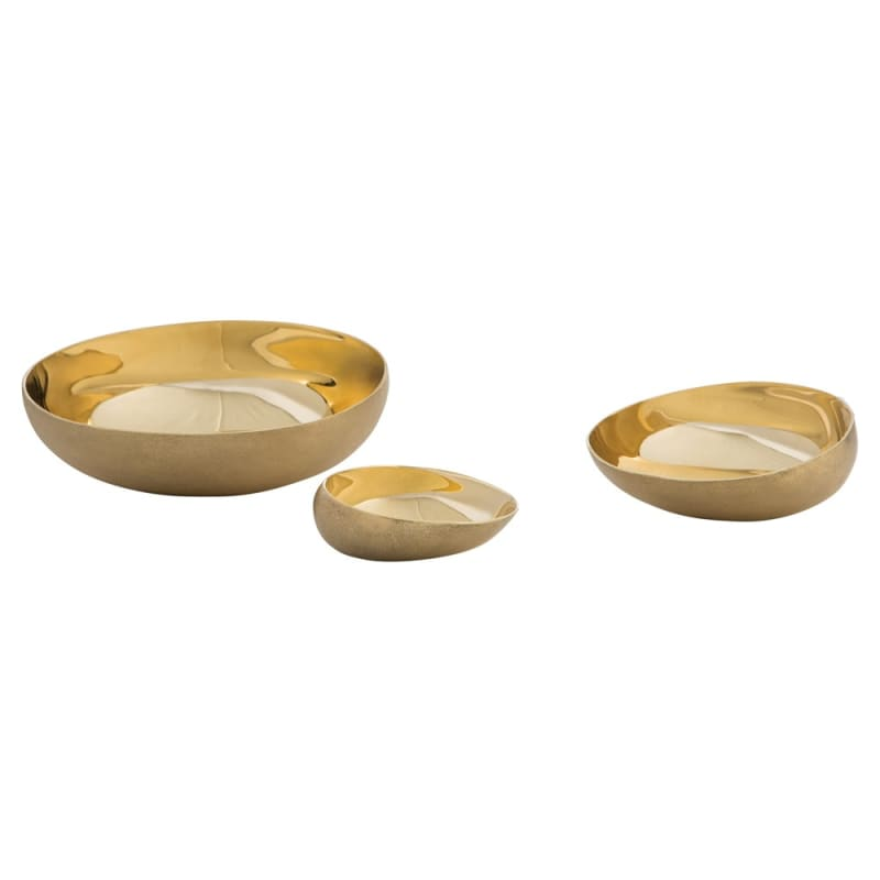 Arteriors 2085 Rashida 3 Piece Container Set Matte Brass Home Decor