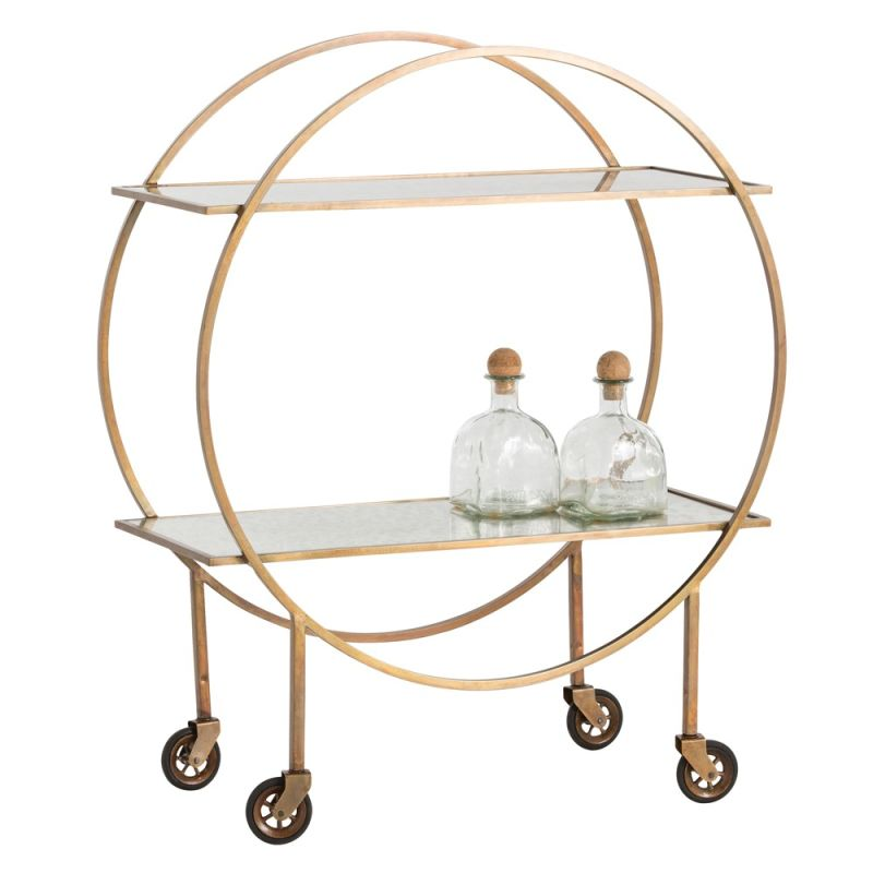 Arteriors 2091 Rupert 35 Inch Tall Iron Bar Cart Antique Brass