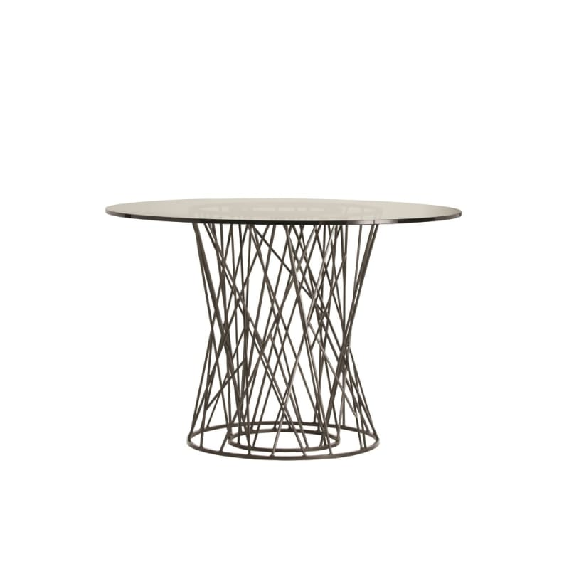 Arteriors 2098-48 Rawlins 48 Inch Diameter Glass Top Iron Accent Table