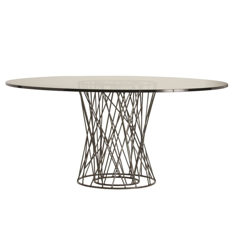 Arteriors 2098-66 Rawlins 66 Inch Diameter Glass Top Iron Dining Table