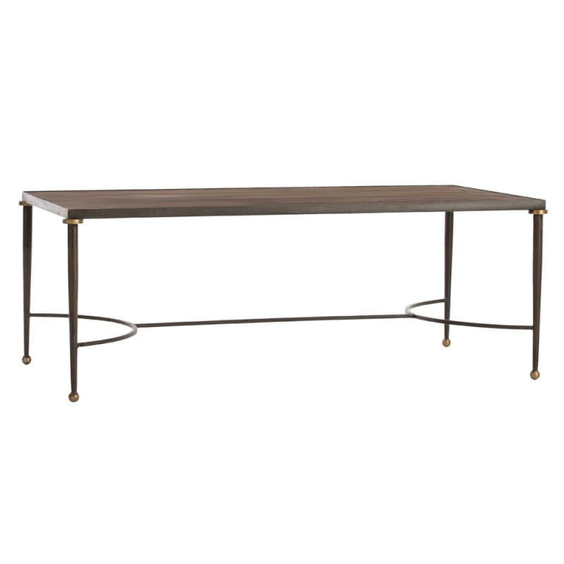 Arteriors 2220 Tippin 48 Inch Long Iron Top Coffee Table Antique Brass