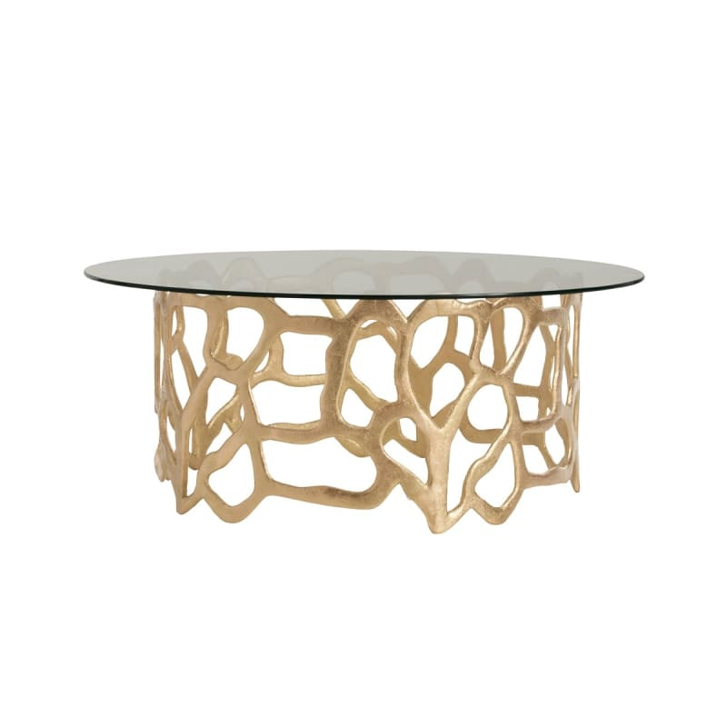 "Arteriors 2361 Brampton 40"" Diameter Glass Top Coffee Table Gold Leaf"