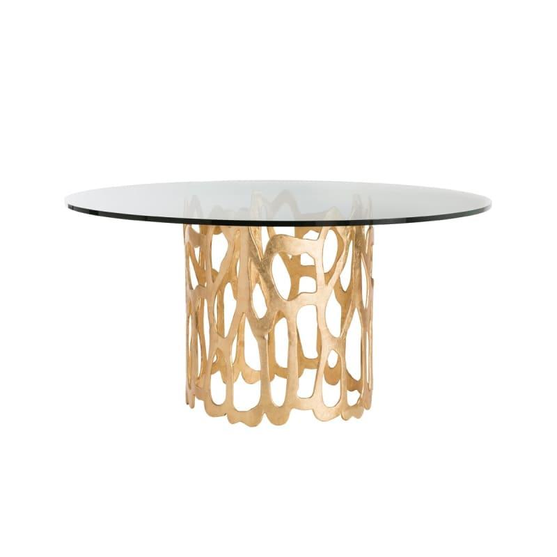 "Arteriors 2430-60 Brampton 60"" Diameter Glass Top Dining Table Gold"