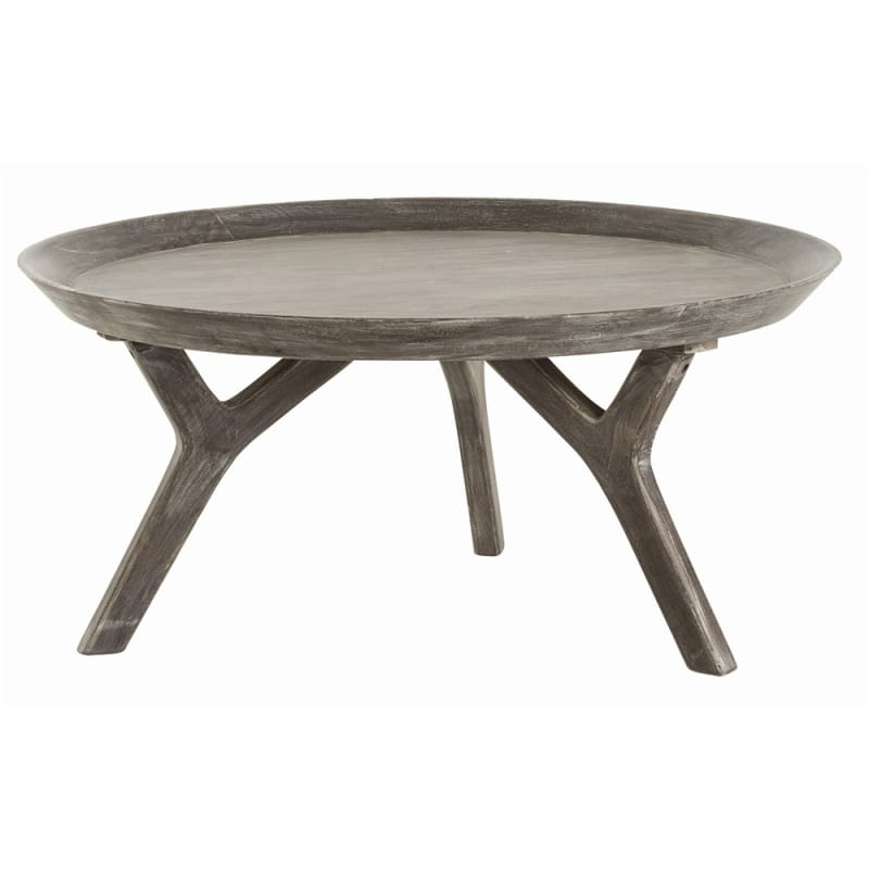 Arteriors 2485 Emmett 32 Inch Diameter Wood Coffee Table Washed Gray