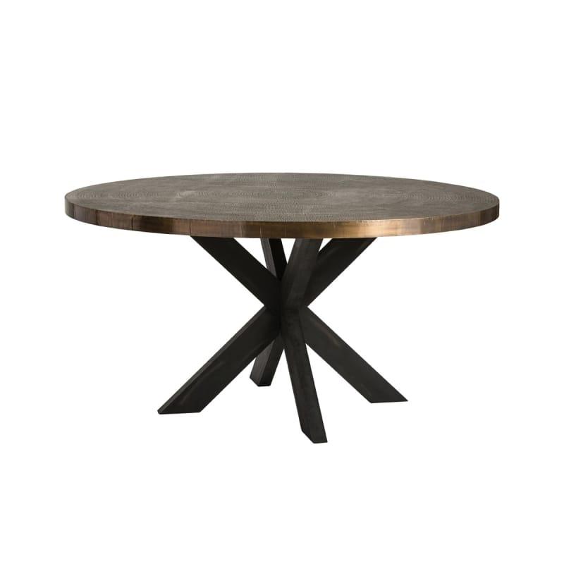 "Arteriors 2548 Halton 60"" Diameter Wood Top Dining Table Antique Brass"