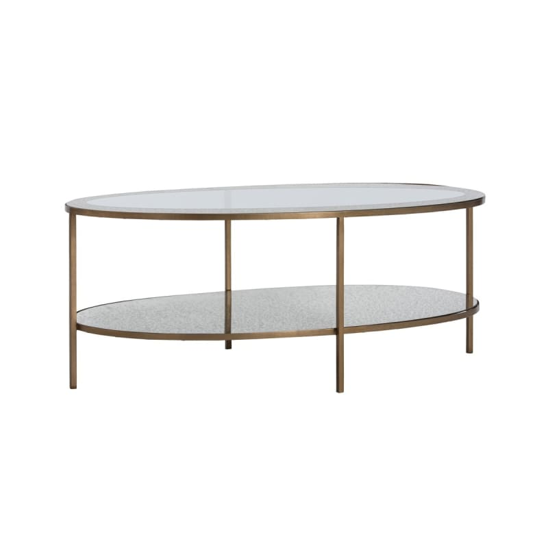 "Arteriors 2603 Percy 48"" Wide Glass Top Coffee Table Antique Brass"