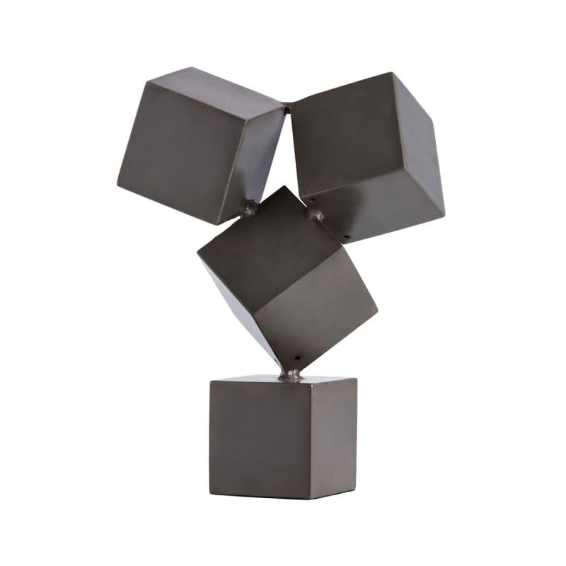 "Arteriors 2605 Stockton 15"" Tall Iron Cube Sculpture Black Home Decor"