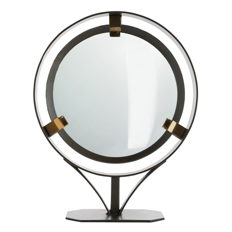 Arteriors 2608 Darcy 20 Inch Circular Framed Table Mirror Natural Iron