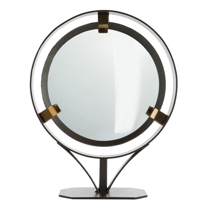 Arteriors 2608 Darcy 20 Inch Circular Framed Table Mirror Natural Iron