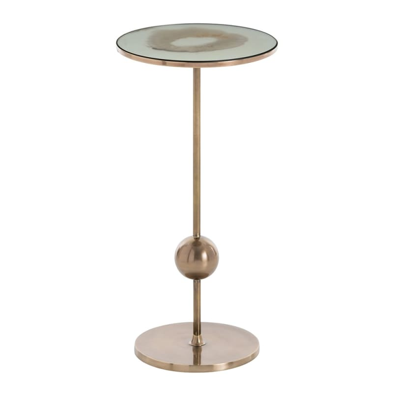 Arteriors 2612 Fulton 10 Inch Diameter Mirror Top End Table Antique
