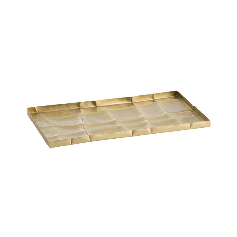 "Arteriors 2613 Shields 14"" Wide Brass Decorative Tray Matte Brass Home"