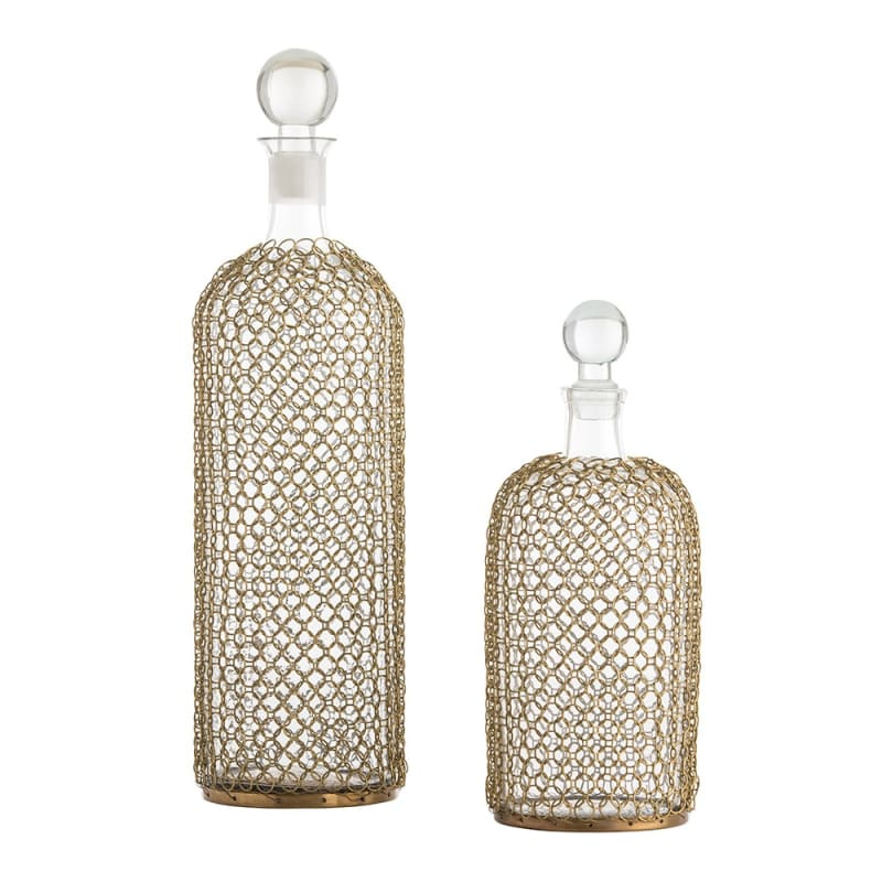 Arteriors 2614 Drexel 2 Piece Glass Decanter Set Antique Brass Home