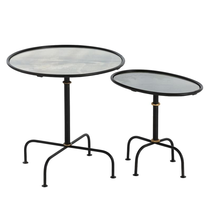 Arteriors 2660 Dickens 2 Piece Iron Nesting Table Set Blackened Iron