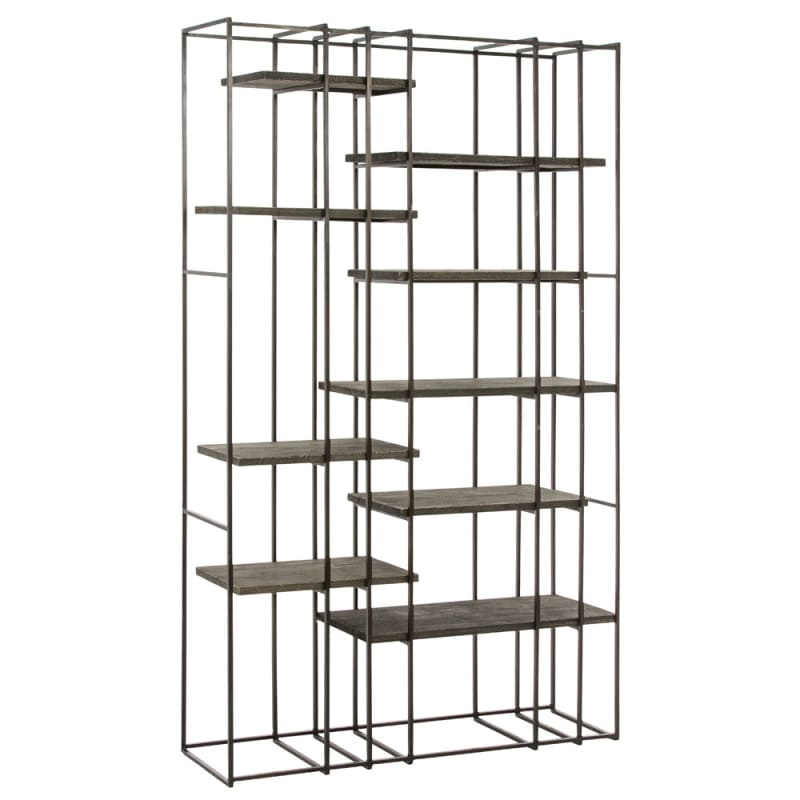Arteriors 2664 Terrace 82.5 Inch Tall Iron Bookshelf Gray Furniture