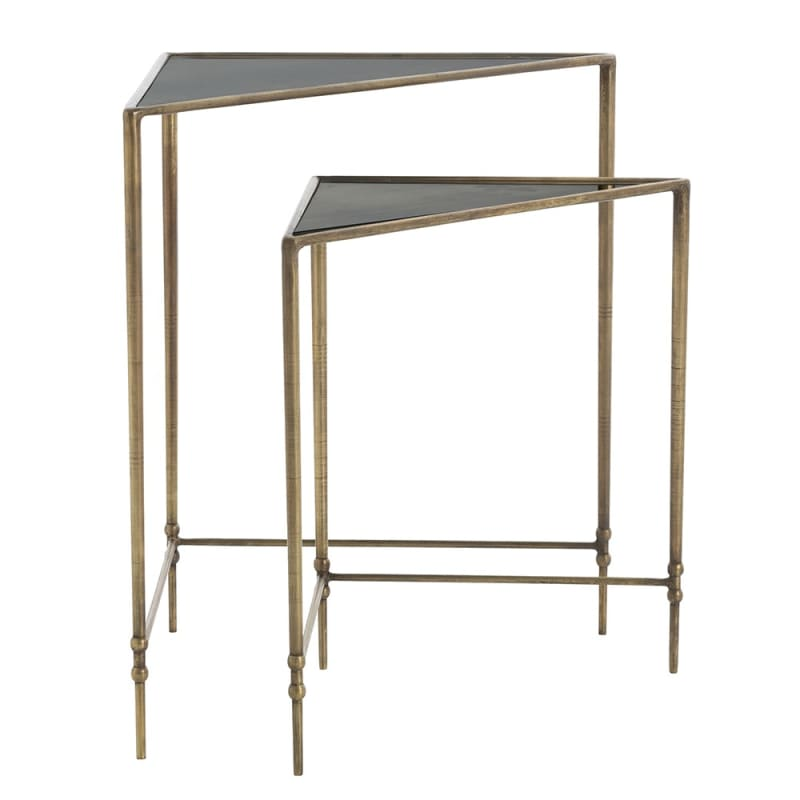 Arteriors 2681 Elias 2 Piece Iron Nesting Table Set Antique Brass
