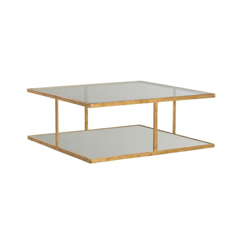 "Arteriors 2687 Barlow 36"" Wide Glass Top Coffee Table Gold Leaf"
