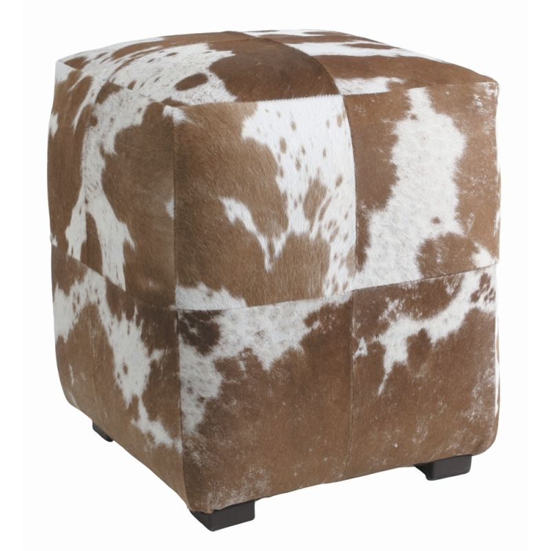 Arteriors 2697 Otto 16 Inch Wide Wood Framed Leather Ottoman Brown and
