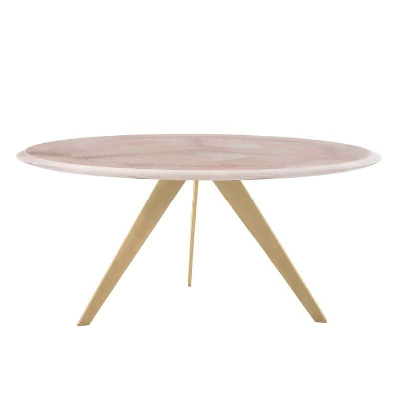 Arteriors 2689.2734 Essex 36 Inch Diameter Stone Top Coffee Table Gold