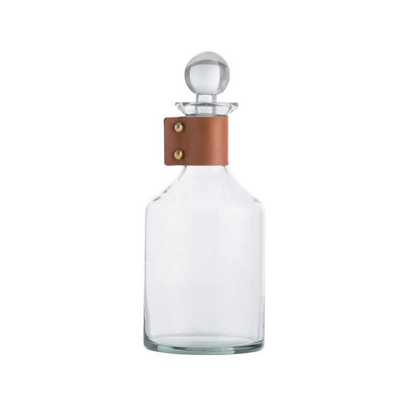 "Arteriors 2741 Thurman 11"" Tall Glass Decanter with Leather Accents"