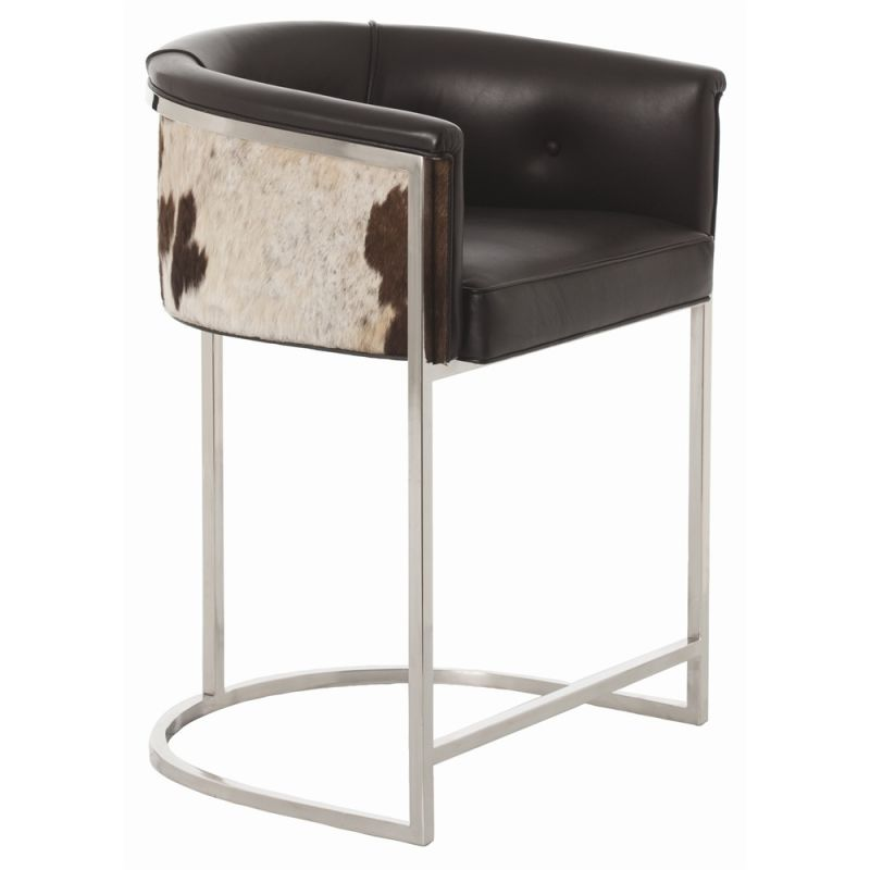 Arteriors 2763 Calvin 33 Inch Tall Iron Framed Leather Counter Stool