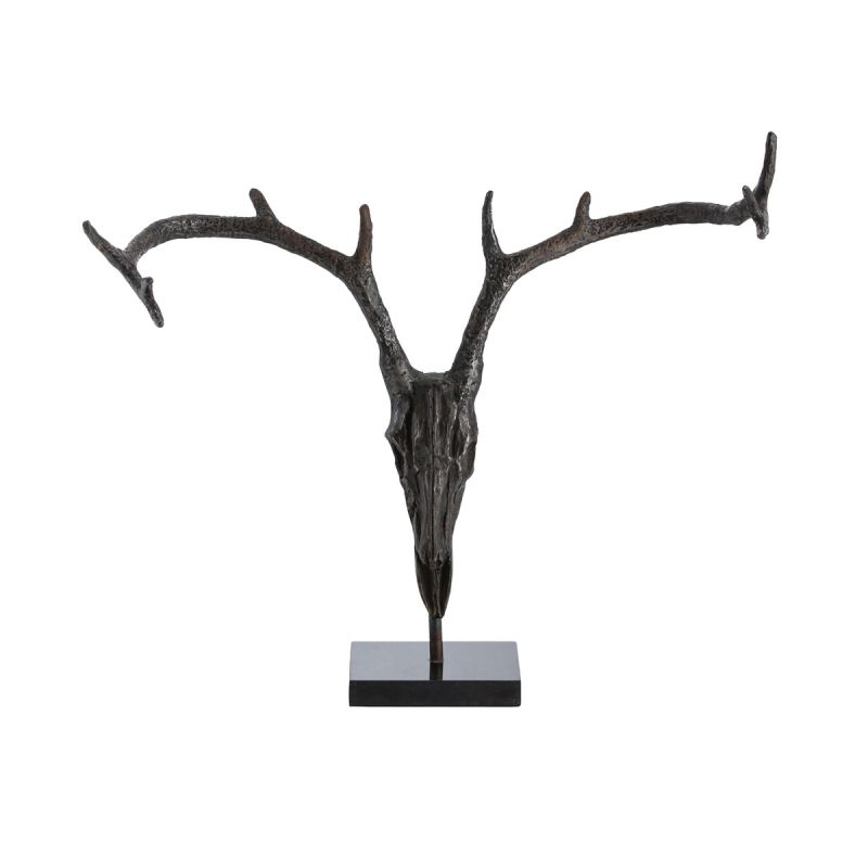"Arteriors 3000 Tejas 2"" Tall Iron Stag Sculpture Natural Iron Home"