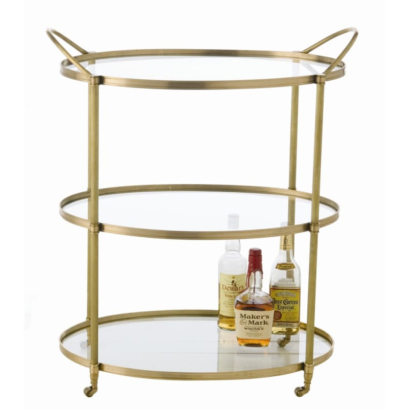 Arteriors 3075.3077 Connaught 36 Inch Tall Iron Bar Cart Antique Brass