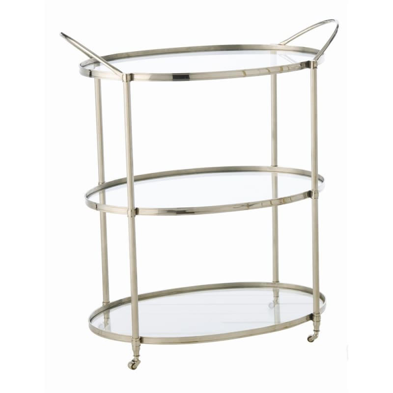 Arteriors 3075.3077 Connaught 36 Inch Tall Iron Bar Cart Polished
