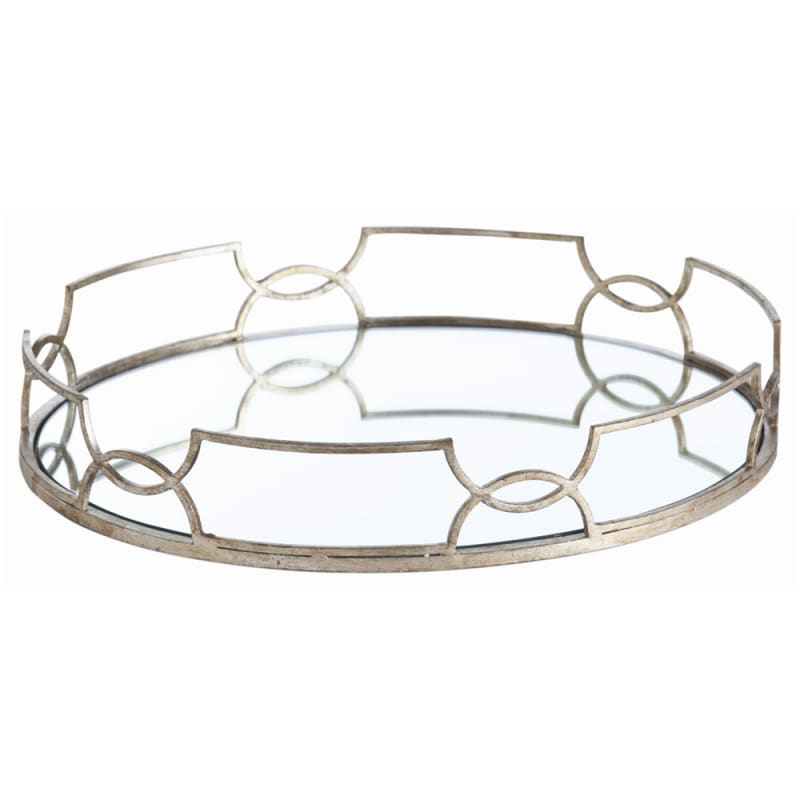Arteriors 3137 Cinchwaist 21.5 Inch Wide Iron Tray Silver Leaf Home