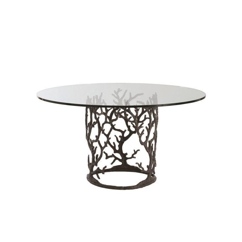"Arteriors 3195-60 Ursula 60"" Diameter Glass Top Dining Table Natural"